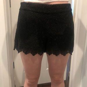 Eyelet black shorts
